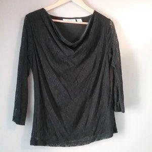 🌞 Sag Harbor Black Lace Blouse   Petite Large